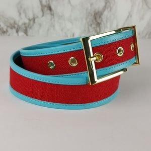 Talbots Red Turquoise Canvas Leather Belt S Z45
